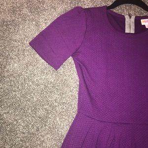 💜LLR XS Solid Purple Plum Amelia Midi Dress